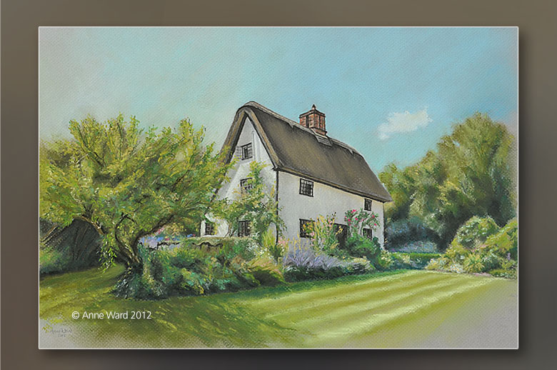 Anne Ward pastel commission of thatched cottage, Hillands