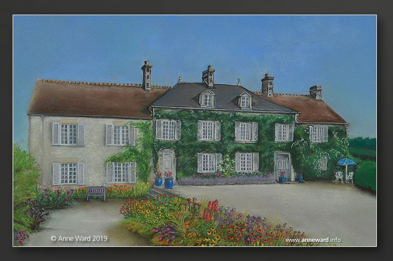 Anne Ward pastel commission of house and garden